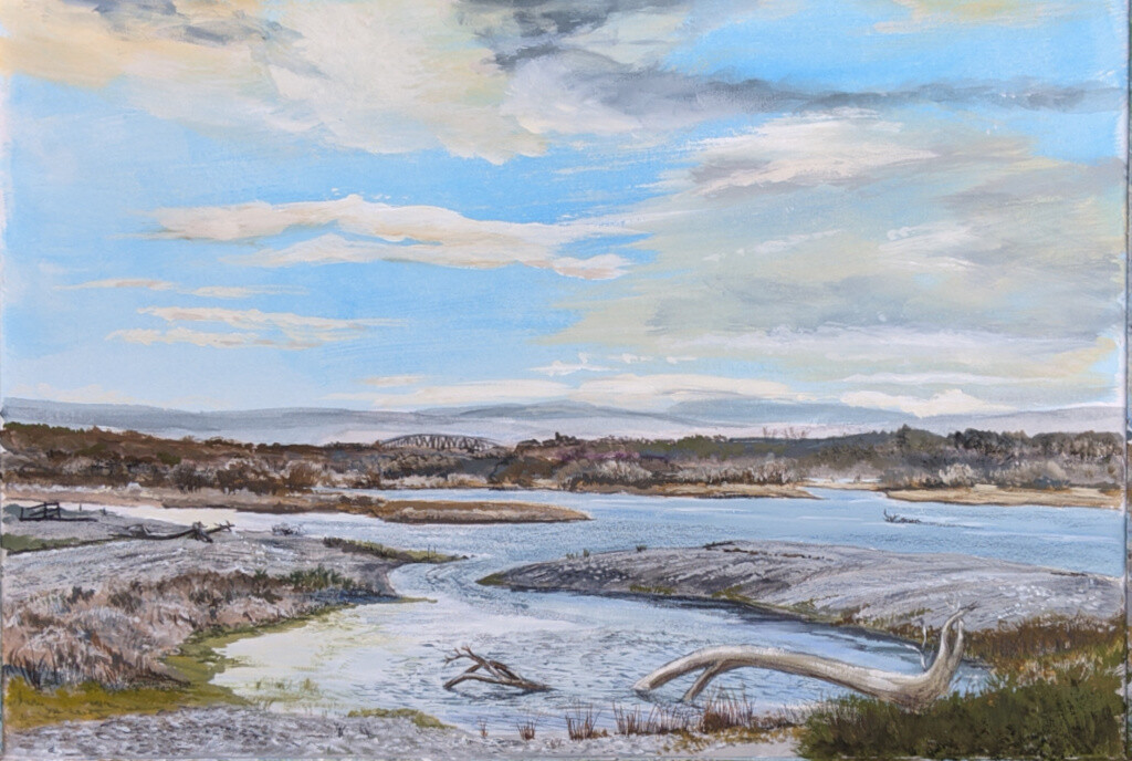 Spey Bay, Moray - winter, tide rising. Print only.
