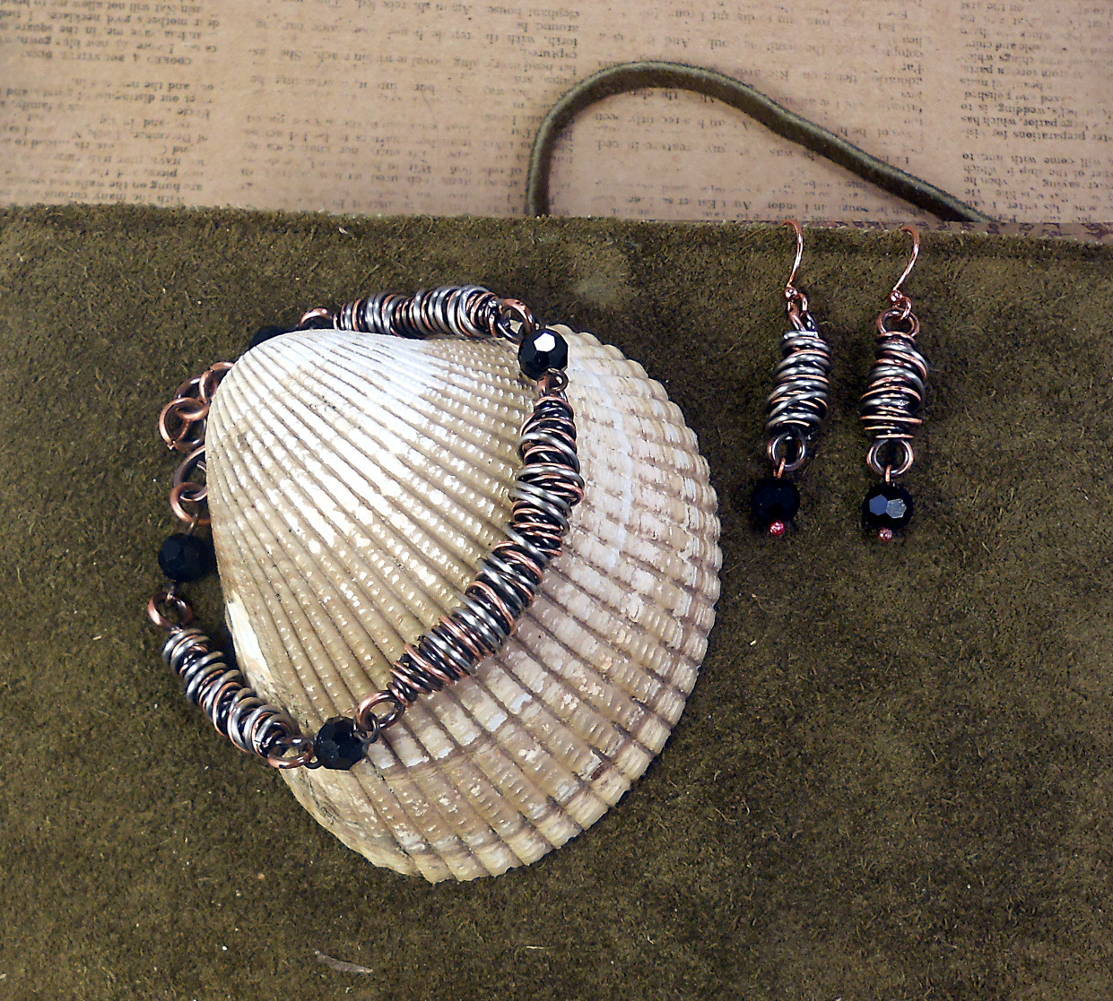Wire & Crystal Bracelet with Matching  Earrings