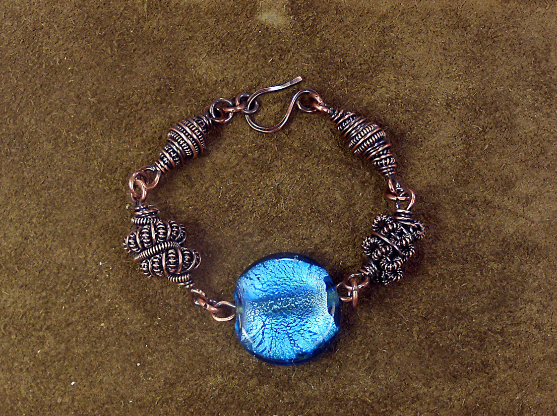 Copper Coil Bracelet  Wire Work Class