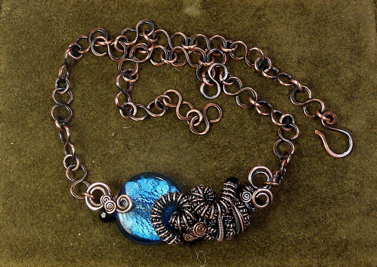 Copper Coil Necklace  Wire Work Class
