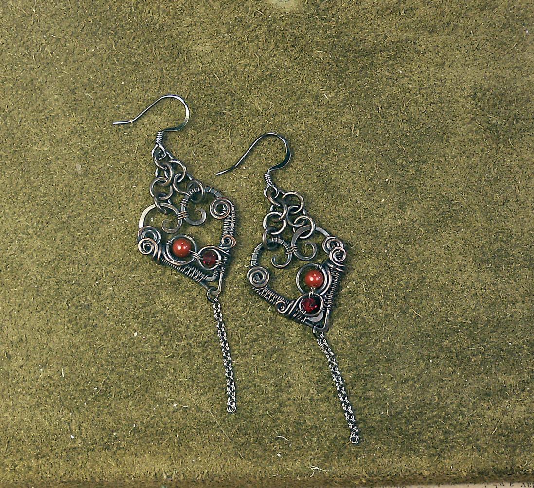 Woven Heart Earrings  Wire Work Class
