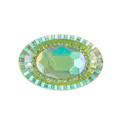 Resin Lime Green AB Oval 20x30mm