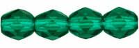 4mm Fire Polish Green Emerald  x50