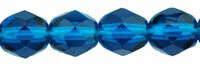 6mm Fire Polish Capri Blue x25