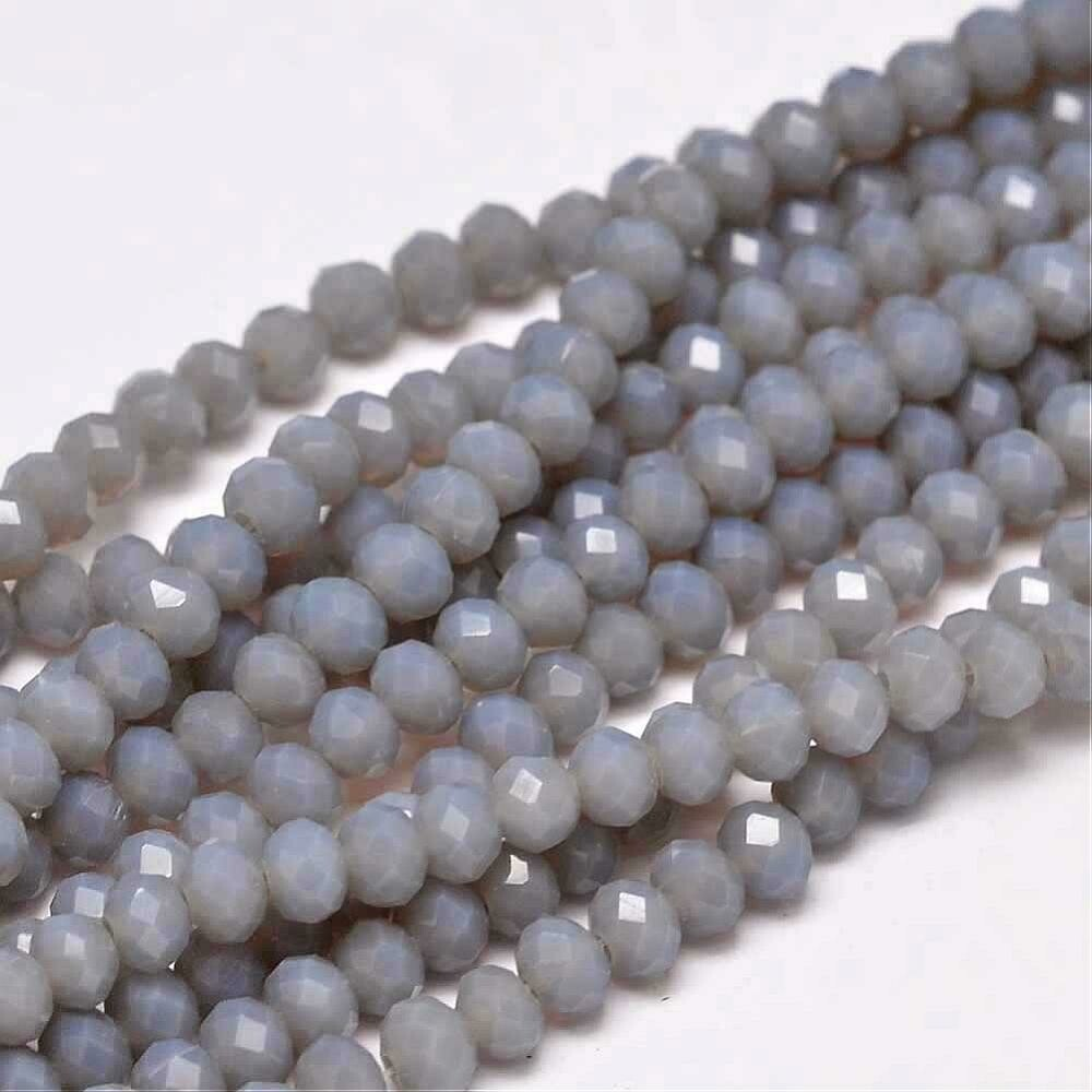 4x3mm Rondelle Chinese Crystal Grey Opal  x130
