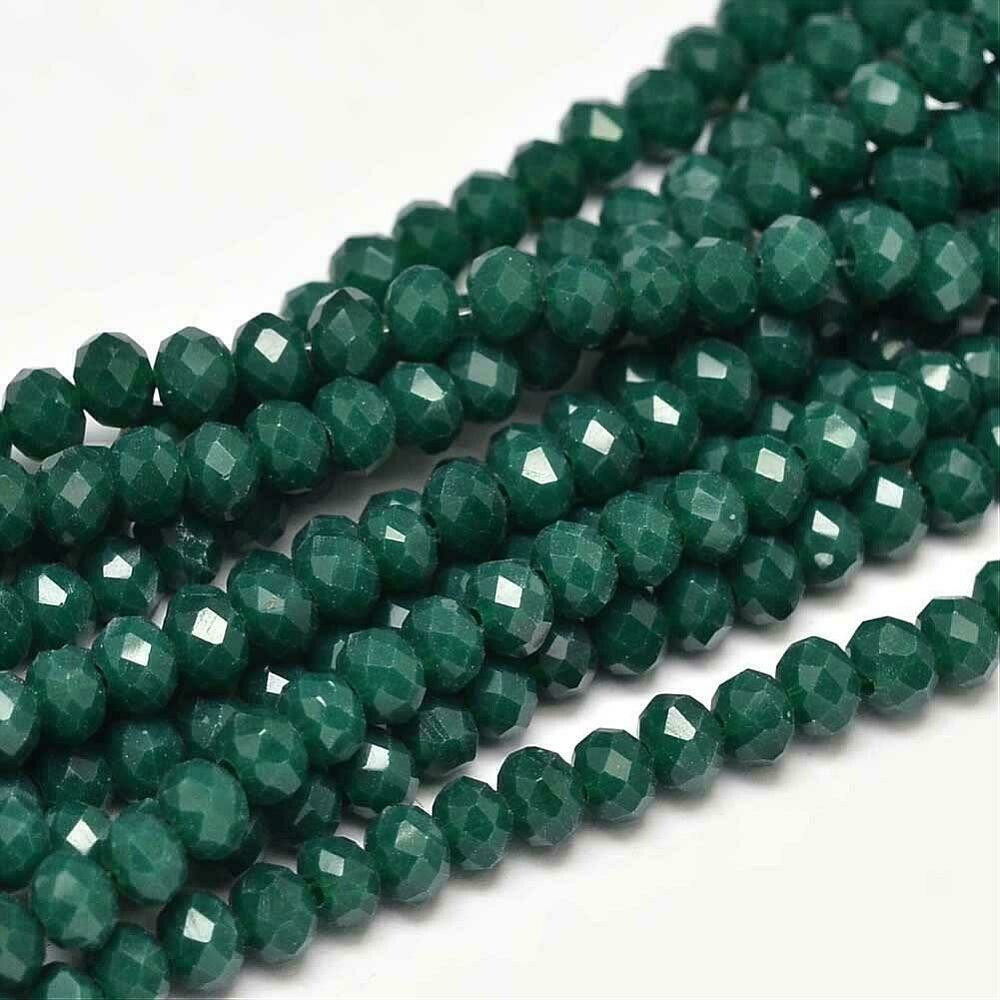 4x3mm Rondelle Chinese Crystal Opaque Dark Green  x130