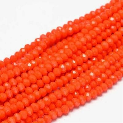 4x3mm Rondelle Chinese Crystal Opaque Orange Red  x130