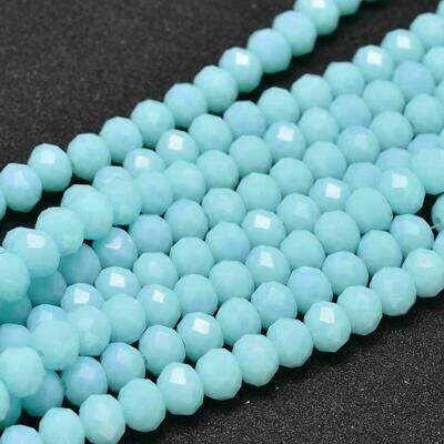 4x3mm Rondelle Chinese Crystal Opaque Pale Turquoise Blue x130