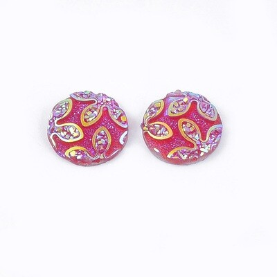 Flower Resin Cabochon Medium Red 12x3mm
