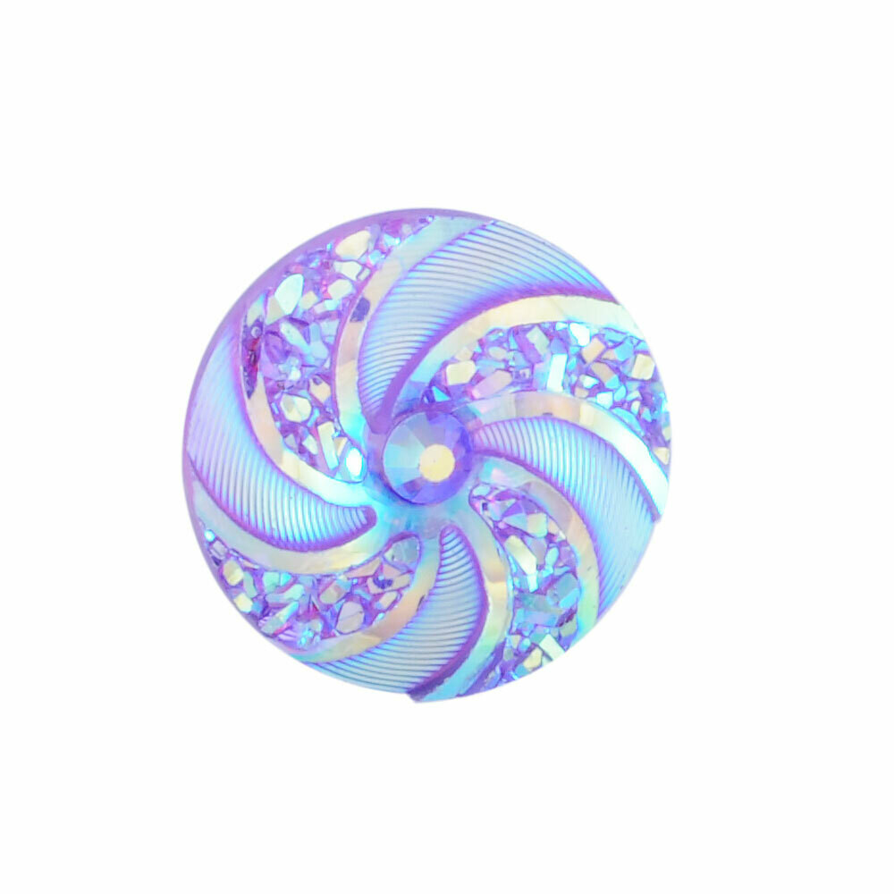 Swirl Resin Cabochon Purple Violet 16x3mm