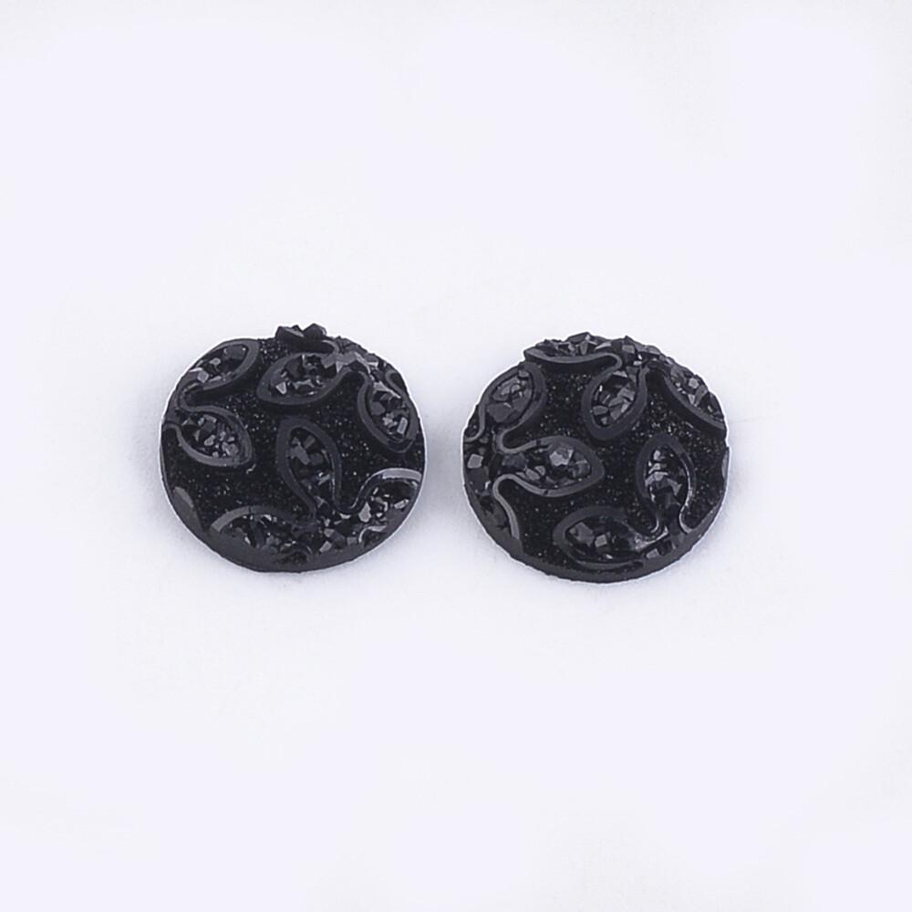 Flower Resin Cabochon Jet Black 12x3mm