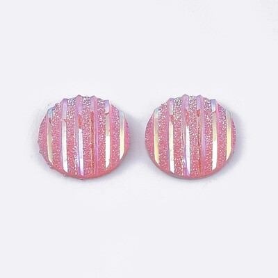 Stripes Resin Cabochon Pink 12x3mm