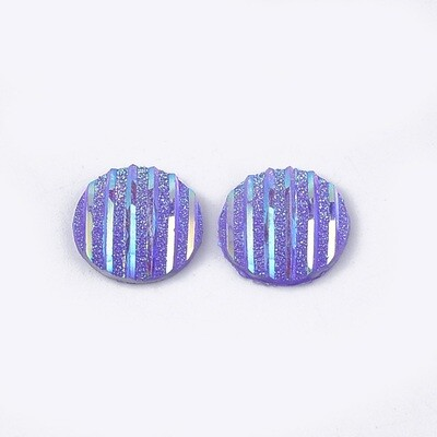 Stripes Resin Cabochon Purple Violet 12x3mm