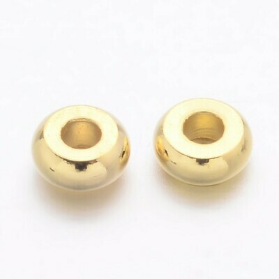 Gold Flat Round Spacer Bead x100 4x1.5mm