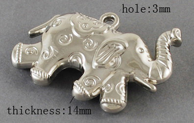 Elephant Pendant Platinum 58x35x10mm