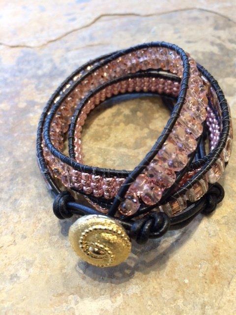 """Triple Wrap Bracelet Peach and Copper 20"""" plus 3"""" adjustment"""
