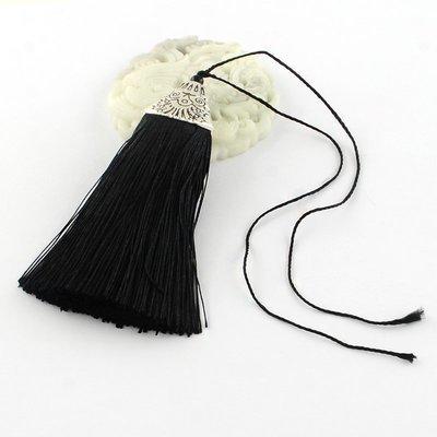 Black Tassel with silver cap   80x20x11mm