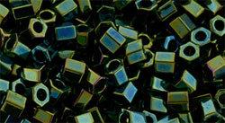 8/0 Hex Toho Opaque Green AB 84