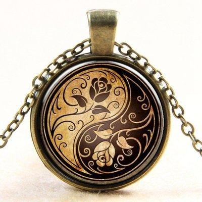 27mm Rose Yin Yang Necklace  Antique Brass colour 18