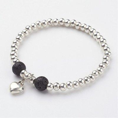 Lava Bead with heart charm bracelet
