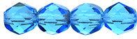 6mm Fire Polish Aquamarine Blue x25