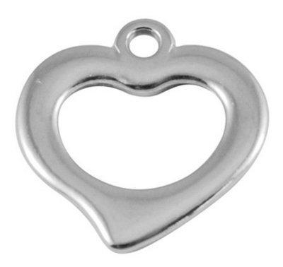 Open Heart Charm Platinum  18x18mm