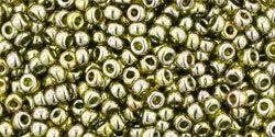 11/0 Round Toho Transparent Green Tea Gold Lustre  457