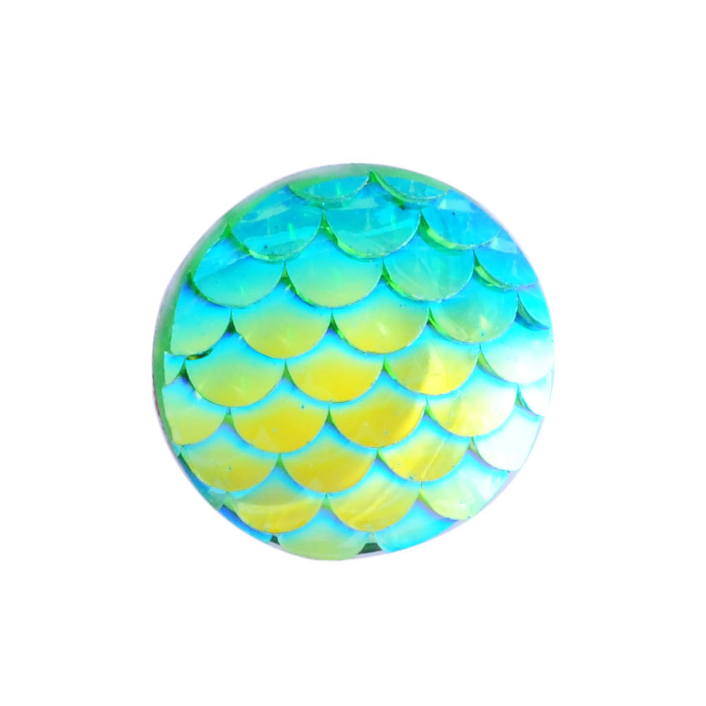 Fish Scale Resin Cabochon Cyan 12x3mm