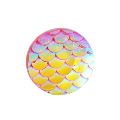 Fish Scale Resin Cabochon Yellow/Pink 12x3mm
