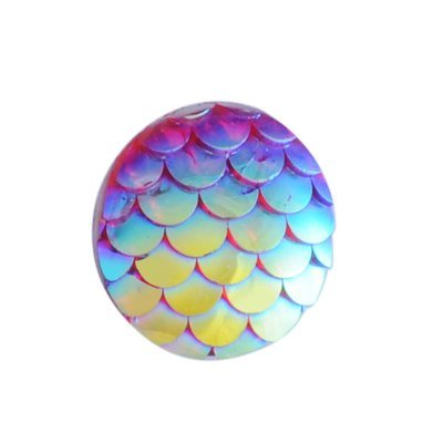 Fish Scale Resin Cabochon Garnet 12x3mm