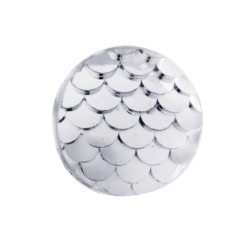 Fish Scale Resin Cabochon Silver 12x3mm
