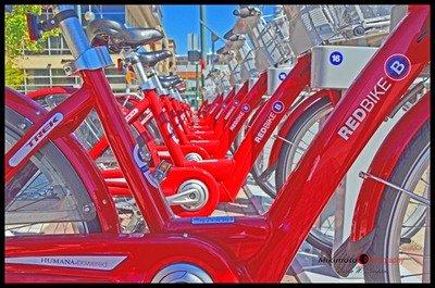 Red Bikes Print