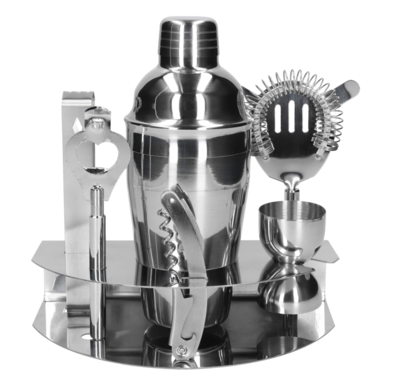7-ių dalių barmeno rinkinys su stovu (Silver)