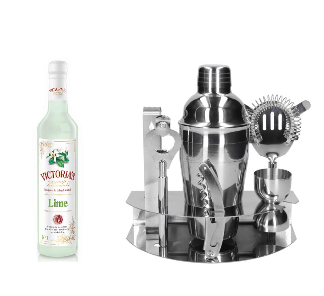 """""""Victoria's"""" 7 dalių barmeno rinkinys su stovu (Silver)"""