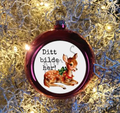 Julekule i rødt med eget bilde