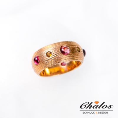Ring aus 925 Sterlingsilber /Rotvergoldet mit Turmaline und Saphire