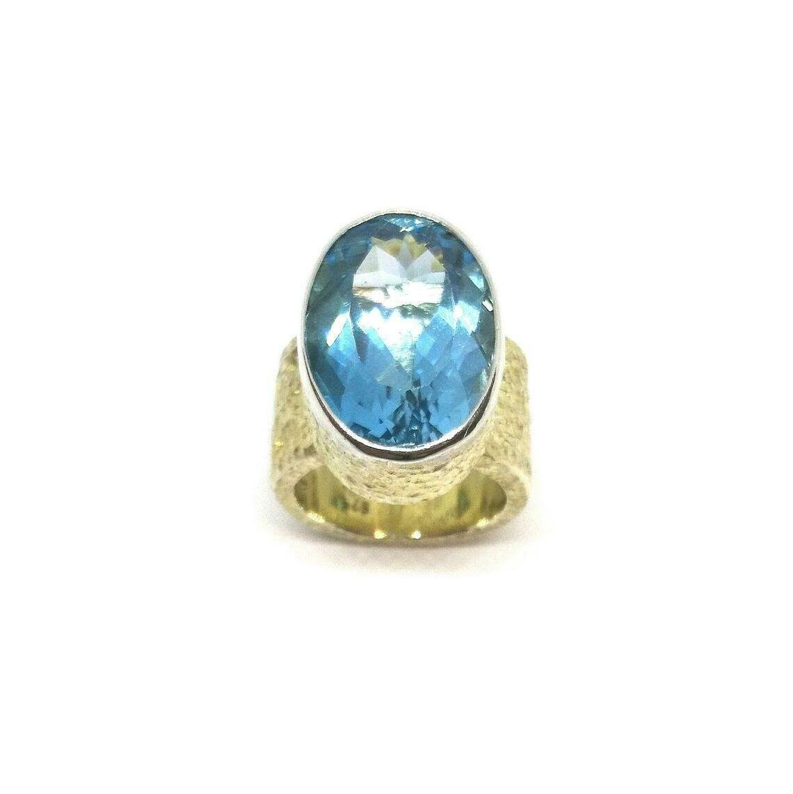 Designer Ring aus 925er Sterlingsilber mit Topas