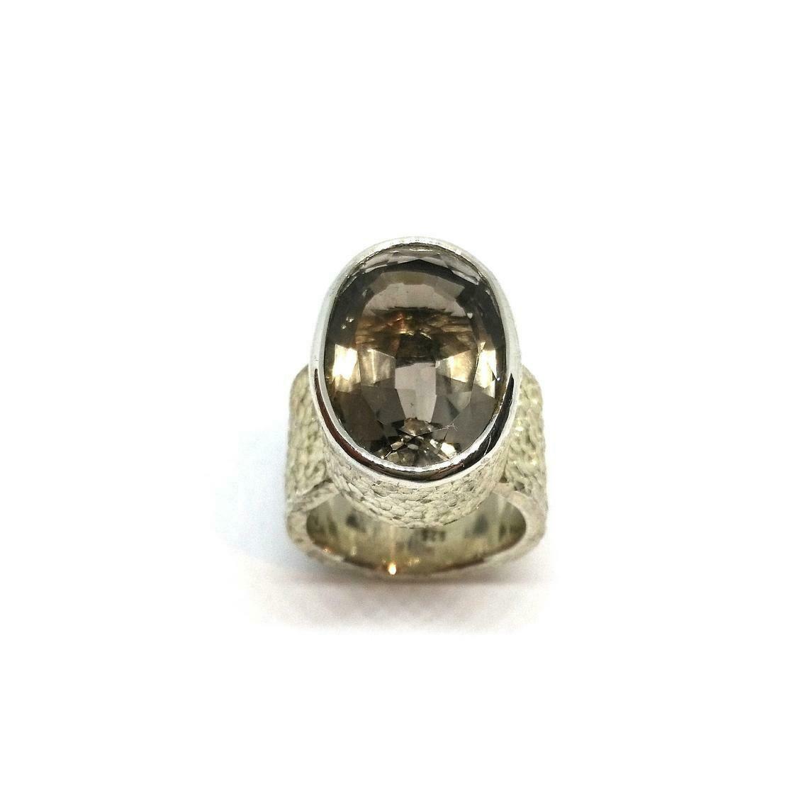 Designer Ring aus 925er Sterlingsilber mit Rauchquarz