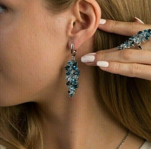 Designer Ohrringe 925er Sterlingsilber mit Blau Topas