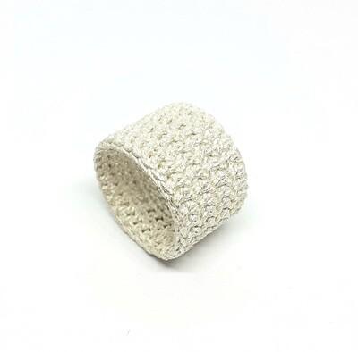 Ring Gehäkelt Weiß aus 925er Sterlingsilber