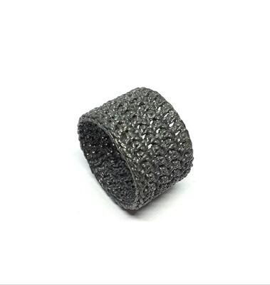 Ring Gehäkelt Schwarz aus 925er Sterlingsilber