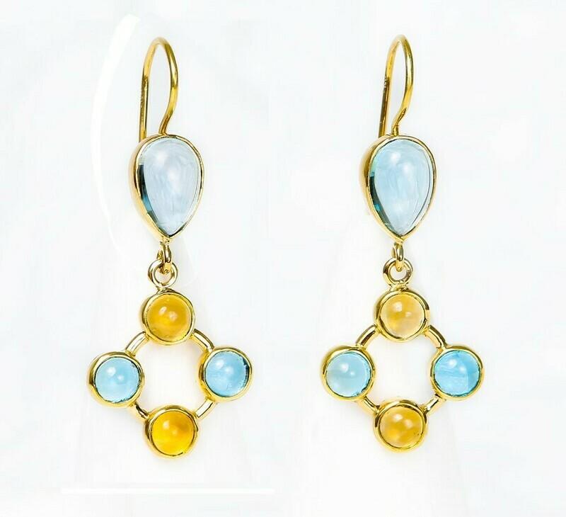 Ohrringe aus 750er Gelbgold mit Blau Topas und Citrine