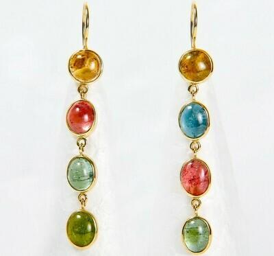 Ohrhänger aus 750er Gelbgold mit Multicolor Turmaline