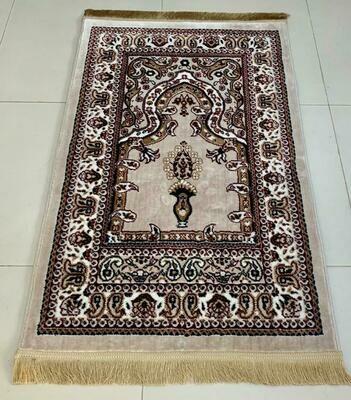 Prayer Mat Beige Red (80 x 125 cm) | Made in Turkey | Art Silk