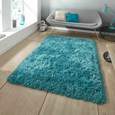 Fluffy Rug Teal Blue (150x220 cm)