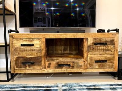 TV Unit (Mango Wood) Industrial style