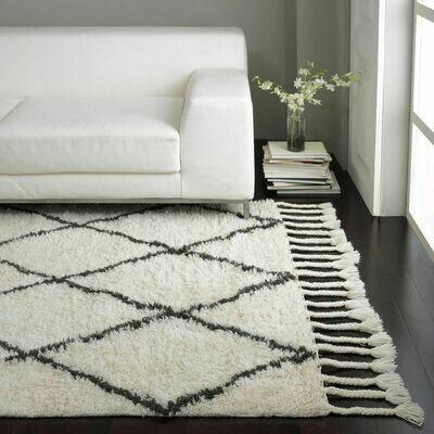 Hermes Fluffy Moroccan Shaggy Rug Grey & White (160x213 cm)
