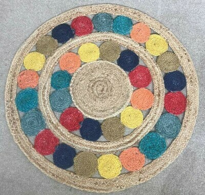 Rang Handmade Jute Rug 90 cm diameter (3 feet)