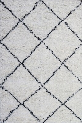 Marek Fluffy Moroccan Shaggy Rug White and Black (160x213 cm)