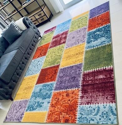 Rainbow Multi-coloured Patch Rug (Multiple sizes)